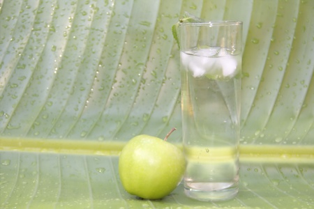 Glass of cold water with ice and mint and green apple on leaf background Stock Photo - 14992063