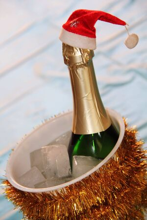 New Year champagne bottle in ice
