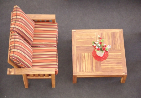 Table and striped sofa photo