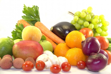 Fresh fruits and vegetables on white background Stock Photo
