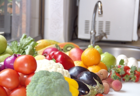 Vegetables and fruits on the kitchen Stock Photo - 17313691