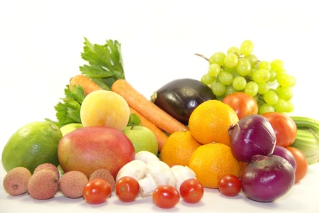 Bright fresh fruits and vegetables isolated on white background Stock Photo - 17379781