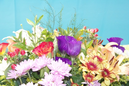 Bouquet of a beautiful fresh flowers on blue background