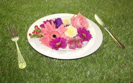 Flowers on a plate with grass background Stock Photo - 18244618