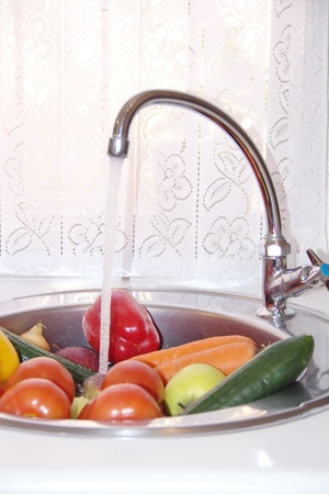 Wash vegetables and fruits