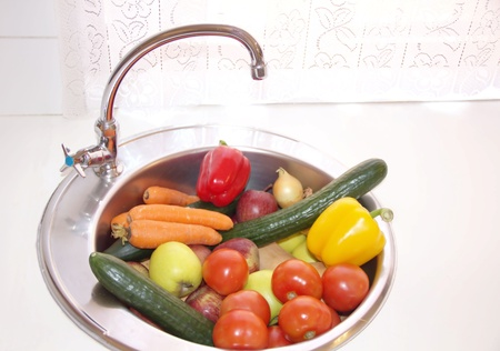 Fruits and vegetables on the kitchen