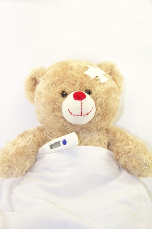 Ill teddy bear with a thermometer on white background photo