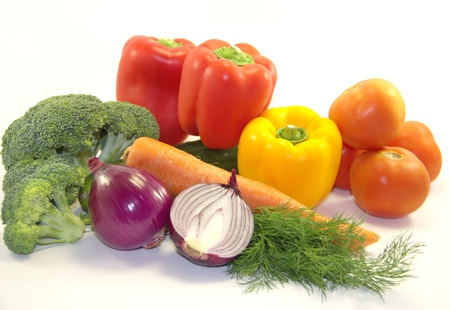 Healthy vegetables on white background Stock Photo