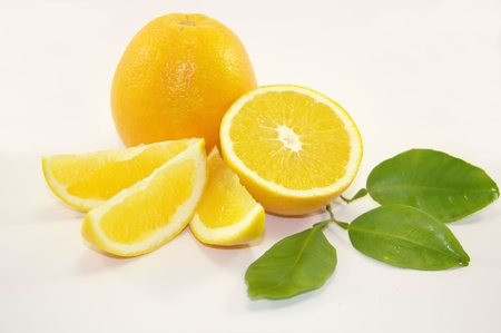 Sweet fresh oranges isolated on white background