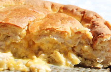 Delicious chicken pie with cheese