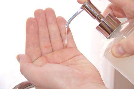 liquid soap: Liquid hygiene hand wash  Stock Photo