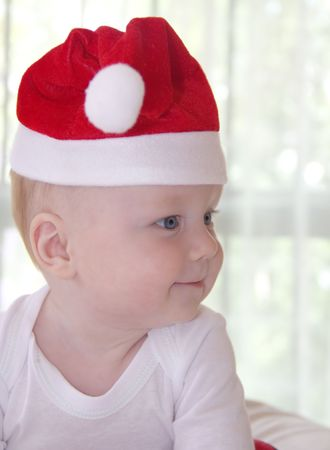 Little baby boy in a new year hat
