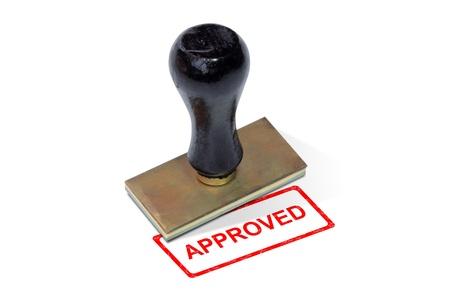 tampon approuv�: Formulaire de coussinet de timbre approuv� sur fond blanc Banque d'images