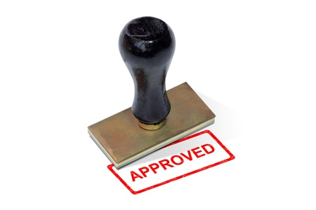 Stamp pad form approved on white background photo