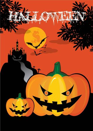 october 31: October 31 Halloween is a holiday of the year has to dress as a ghost, the carved lantern Jack - o - bonfires, telling scary stories and watching horror movies.  Illustration