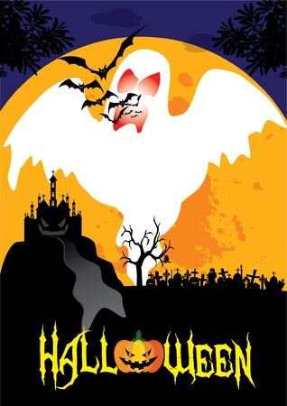 October 31 Halloween is a holiday of the year has to dress as a ghost, the carved lantern Jack - o '- bonfires, telling scary stories and watching horror movies.  Vector