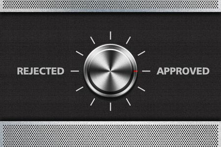 selector: Button Selector Approved Word on the metal panel  Stock Photo