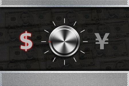 yen sign: Button Selector money sign DOLLAR , YEN on the metal panel