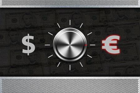 Button Selector money sign DOLLAR , EURO on the metal panel  photo