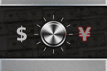 selector: Button Selector money sign DOLLAR , YEN on the metal panel Stock Photo