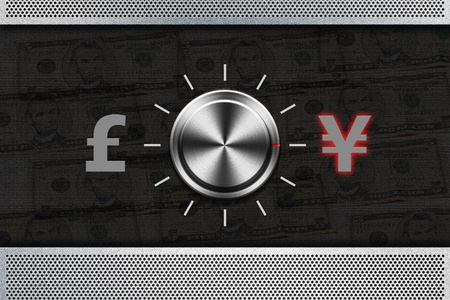 Button Selector money sign 'POUND' , 'YEN' on the metal panel photo
