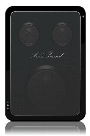 Stock photo speaker with bass and tweeters