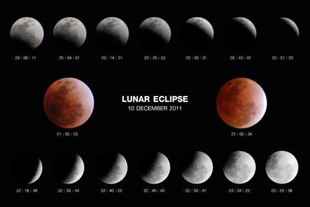 lunar eclipse: NONTHABURI, THAILAND - DECEMBER 10: Lunar Eclipse over Thailand sky from 18.33 through 23.55 PM on Dec 10, 2011 at NONTHABURI, Thailand. Stock Photo