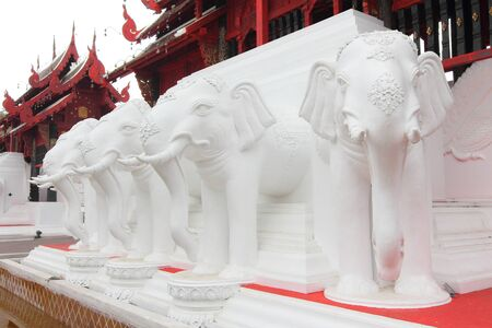 White elephant statues adorn the entrance to the place photo