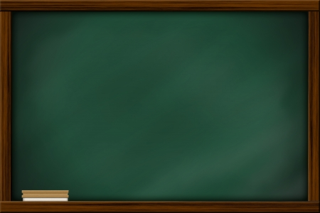 blackboard background: Chalkboard blackboard with frame and brush. Chalkboard texture empty blank with chalk traces and square wooden frame. Stock Photo