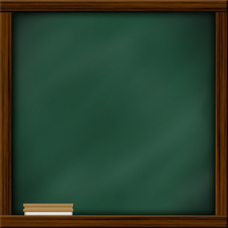 Chalkboard blackboard with frame and brush. Chalkboard texture empty blank with chalk traces and square wooden frame. Stock Photo