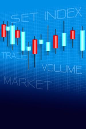 stock brokers: Del mercado de valores y el gr�fico de velas palos Foto de archivo