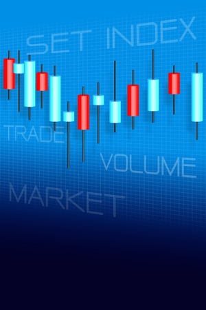 stock trading: Stock market and candle sticks graph Stock Photo