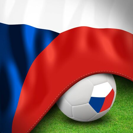 Soccer ball and flag euro Czech Republic Stock Photo - 12842370