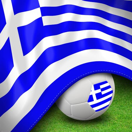 Soccer ball and flag euro greece Stock Photo - 12842380