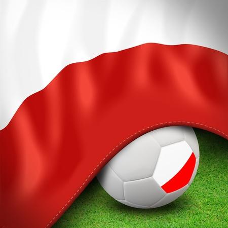 uefa: Soccer ball and flag euro poland