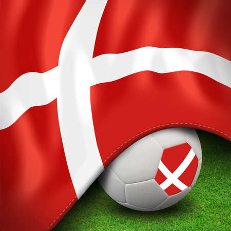 Soccer ball and flag euro denmark photo