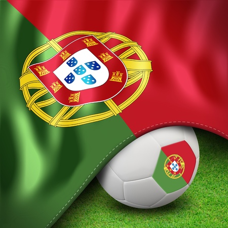 b ball: Soccer ball and flag euro portugal