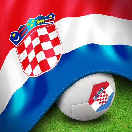 Soccer ball and flag euro croatia Stock Photo - 12842388