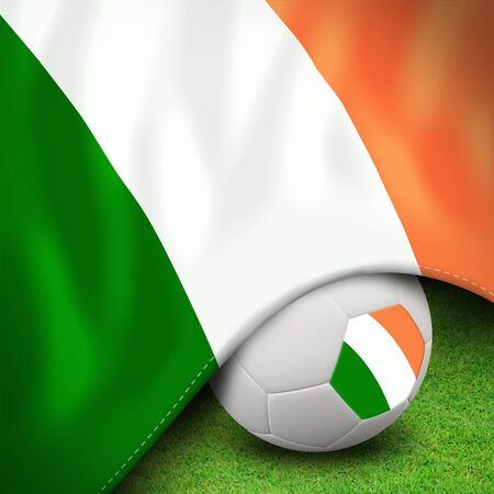 Soccer ball and flag euro ireland photo