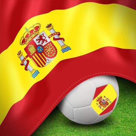 Soccer ball and flag euro spain photo
