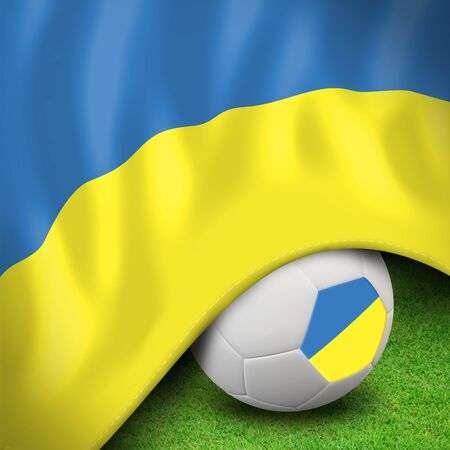 Soccer ball and flag euro ukraine photo
