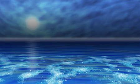 在热带的阳光下,深蓝色的大海,波浪和云的天空