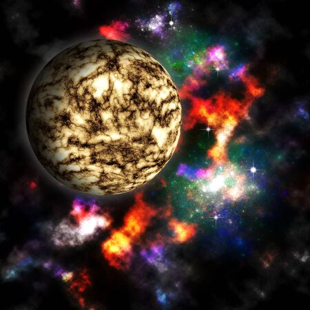 Nebula and  planet in deep space Stock Photo - 13097078