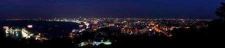 Night scene of Pattaya City Bay , Chonburi, Thailand