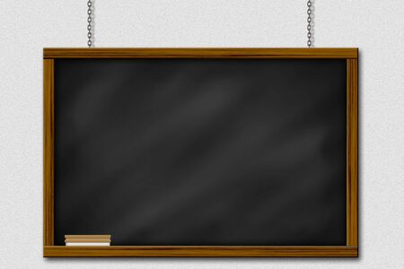 Chalkboard blackboard with frame and brush. Chalkboard texture empty blank with chalk traces and square wooden frame. Stock Photo - 13385238