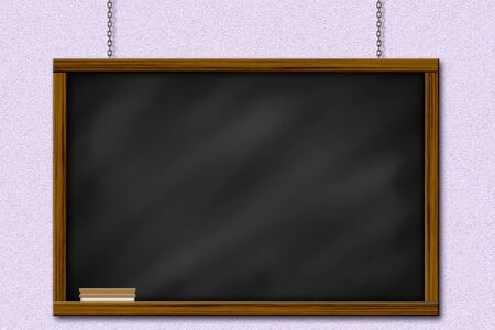 Chalkboard blackboard with frame and brush. Chalkboard texture empty blank with chalk traces and square wooden frame. photo