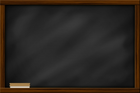 Chalkboard blackboard with frame and brush. Chalkboard texture empty blank with chalk traces and square wooden frame. Standard-Bild