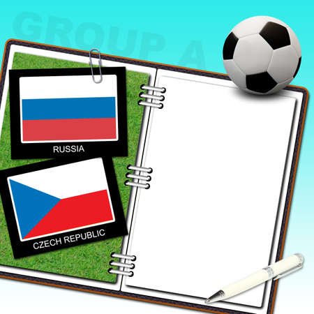 Soccer ball euro with flag czech republic and russia - euro 2012 group a Stock Photo - 13500589