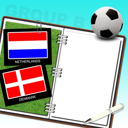 Soccer ball euro with flag netherlands and denmark - euro 2012 group b Stock Photo - 13500590