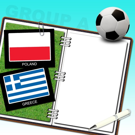 Soccer ball euro with flag poland and greece - euro 2012 group a Stock Photo - 13500592